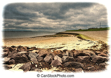 Dutch Landscape with Dike - The North Sea coast in Zealand...