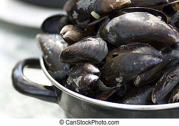 Closeup of a pot with steamed mussels.