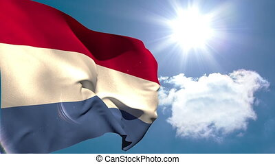 Dutch national flag waving on blue sky background with sun and clouds