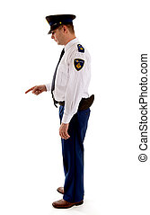 Dutch police officer gives a scolding over white background
