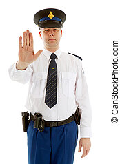 Dutch police officer making stop sign with hand over white background