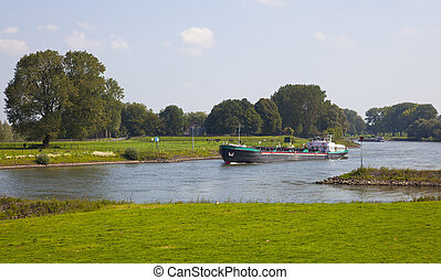 dutch river with ship