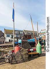 Dutch shipyard of Urk with historic fishing ships