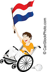 Dutch Sport Fan Supporter on Wheelchair with Flag