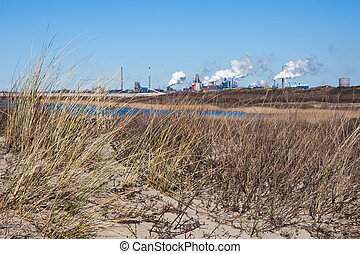 Dutch steel factory seen from the dunes along the coast