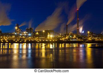 Dutch steel industry by night