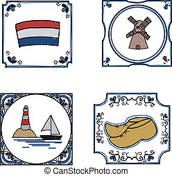 Collection of hand drawn dutch delftware tiles with dutch icons