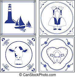dutch tiles - Image of typical dutch cultural tiles