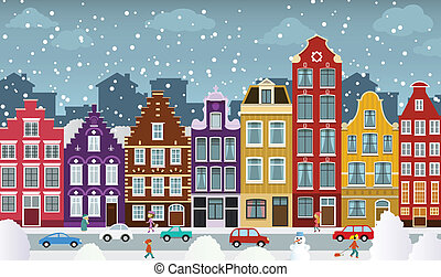 Dutch town in winter - Vector illustration of dutch town in...