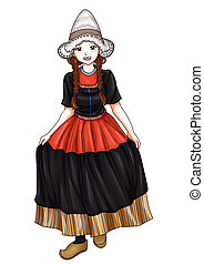 Dutch girl in traditional costume