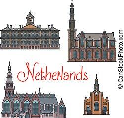 Dutch travel landmarks symbol, thin line style