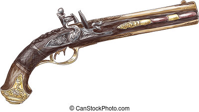 Dutch two barrel flintlock pistol by Johann Kuchenreiter (late 18th Century). Watercolor imitation. Vector illustration.