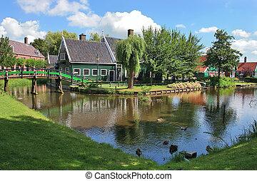 Dutch village. Zaanse Schans, Netherlands. - Traditional...