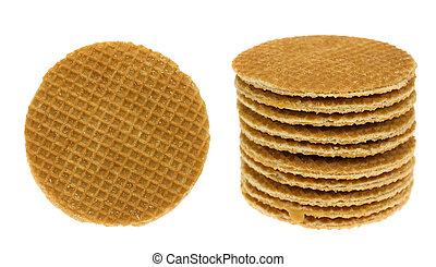 """dutch waffle called a \""""stroopwafel\"""" isolated on a white..."""