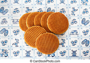 Dutch waffles on Delft Blue background