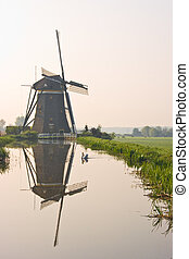 Dutch watermill with reflection