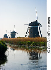 Dutch watermills with reflection