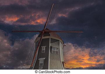 Dutch Windmill in Lynden Washington State at Sunset