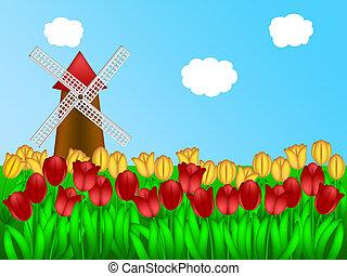 Dutch Windmill in Tulips Field Farm Illustration - Dutch...