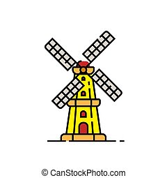 Dutch windmill line icon