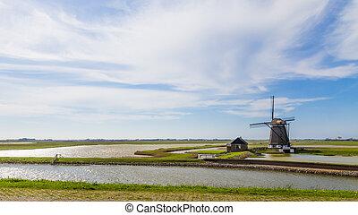 Dutch windmill Het Noorden on the wadden island Texel in the Netherlands