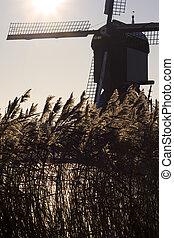 Dutch windmill - Windmill at the Dutch site of Kinderdijk, ...