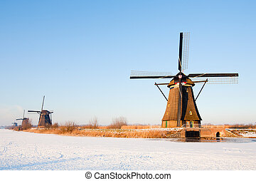 Dutch windmills in winter landscape, Kinderdijk, the...