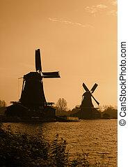 Dutch windmills silhouettes