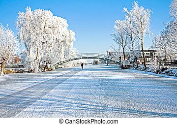 Dutch winter landscape in the Netherlands