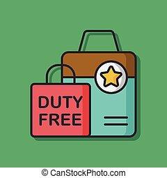 duty free bag vector icon
