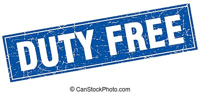 duty free blue square grunge stamp on white