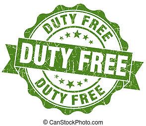 duty free green grunge stamp