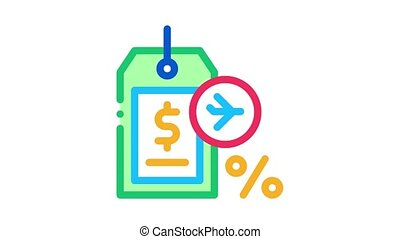 duty free item price tag Icon Animation. color duty free item price tag animated icon on white background