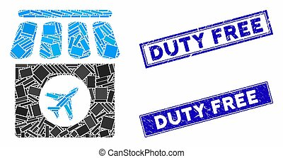 Duty Free Mosaic and Grunge Rectangle Seals
