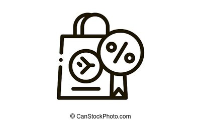 duty free paper bag Icon Animation. black duty free paper bag animated icon on white background