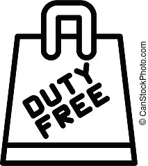Duty free paper bag icon, outline style