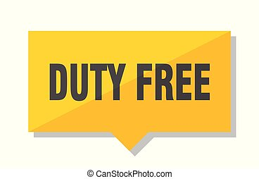 duty free price tag - duty free yellow square price tag
