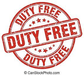 duty free red grunge round vintage rubber stamp