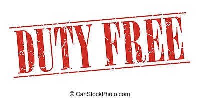 duty free red grunge vintage stamp isolated on white background