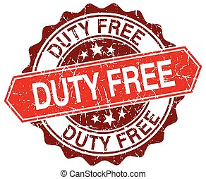 duty free red round grunge stamp on white