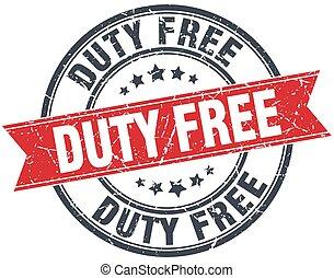 duty free red round grunge vintage ribbon stamp