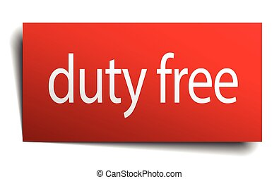 duty free red square isolated paper sign on white