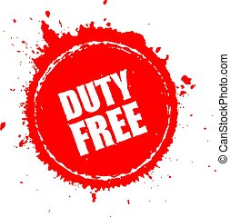 Duty free red vector icon