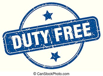 duty free round grunge isolated stamp