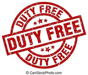 duty free round red grunge stamp