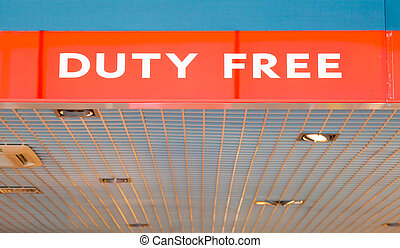 Duty free shop on airport - red advertising