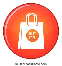 Duty free shopping bag icon, flat style