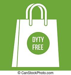 Duty free shopping bag icon green