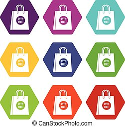 Duty free shopping bag icon set color hexahedron