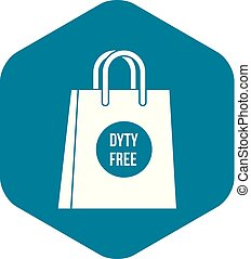 Duty free shopping bag icon, simple style